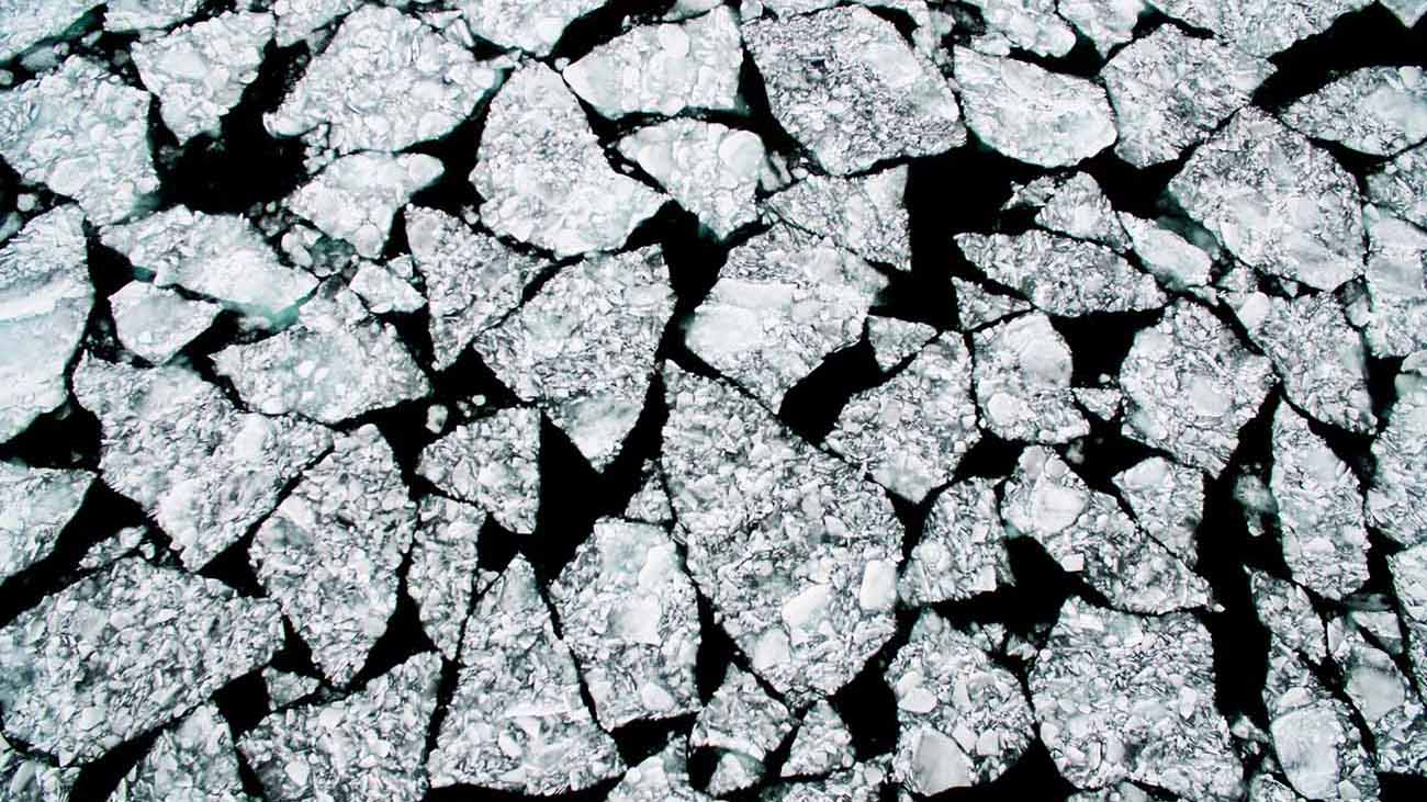 Ice shards viewed from a higher altitude