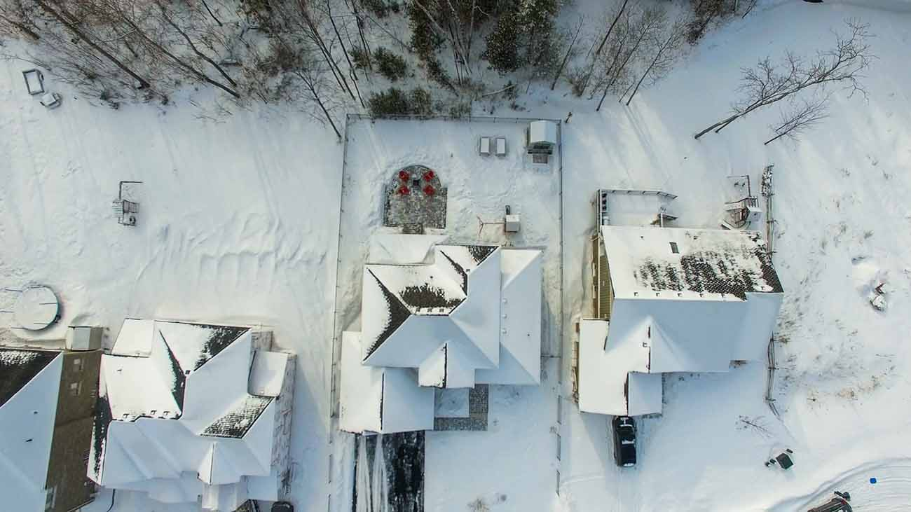 Overhead view of a home in winter